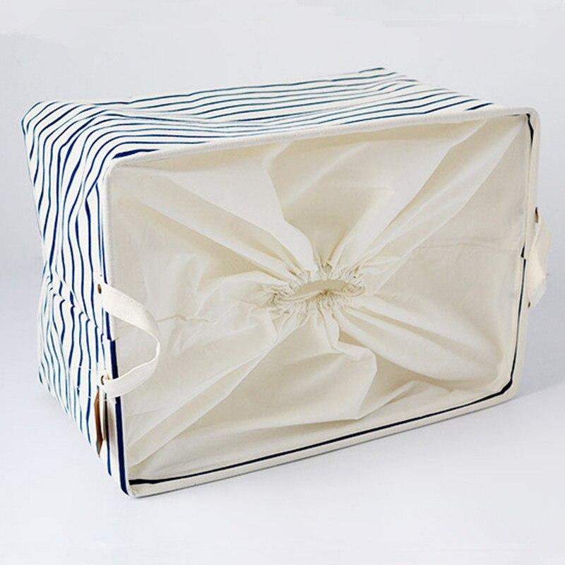 S/M/L Blue Striped Cotton Storage Basket Storage Bags for Kids Toys Dirty Clothes Folding Organizer Clothes Laundry Basket