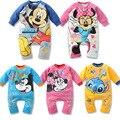 Forma dos desenhos animados Macacão de bebê 100% Algodão bebê recém-nascido conjunto de Roupas meninas Minnie Mickey Macacão de Bebê Menino Menina roupa do bebê