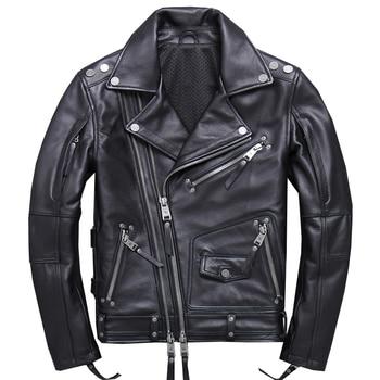 55583d19c08 HARLEY DAMSON Negro hombres Slim Fit Biker chaqueta de cuero de tamaño 4XL  grueso genuino de piel de vaca de doble cremallera corta de motocicleta  abrigo