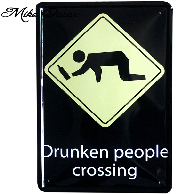 Leewince Custom Wooden Jewelry Makeup Organizer E0 E1 Mdf: ᐂ[ Mike86 ] ⑦ Drunken Drunken People Crossing Tin Sign Art