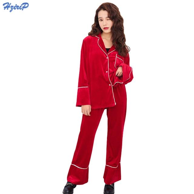 2017 New Pajama Sets Fashion Casual Simple Sexy Costume Loose Red Sleepwear  Shirt Collar Warm Velvet Pajamas Sets For Women 9ba1cafd0