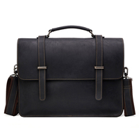 New Genuine Leather Business Men S Bag Mad Horse Skin Retro Style Cross Handbag Briefcase Men