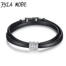 Brand New Elegant Leather Bracelet with Zircon Charm Bracelet Female Party Jewelry Champagne Silver-Color Hand Accessories
