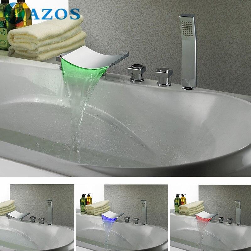 ✅Bathtub Shower Faucets LED Bathroom Suana 5pc Sets Showerhead ...