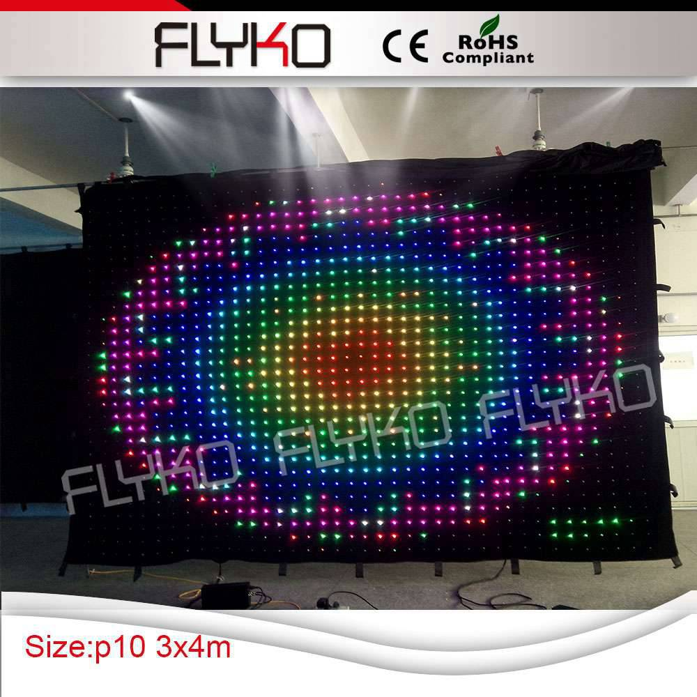 3X4 м для использования в ночном клубе мебель будка диджея Гибкая мягкая светодиодная занавеска для помещений полноцветный P100mm видео экран