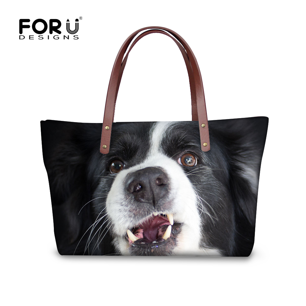 FORUDESIGNS 3D Border Collie Printed Women Handbags Luxury Designer Tote Shoulder Bag for Female Large Capacity Top-handle Bags