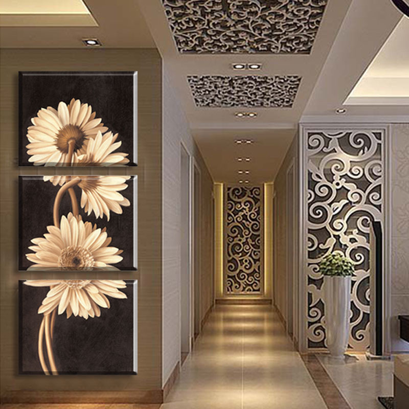 3 Panel Free Shipping Hot Sell Modern Wall Painting Flower Home Wall ...