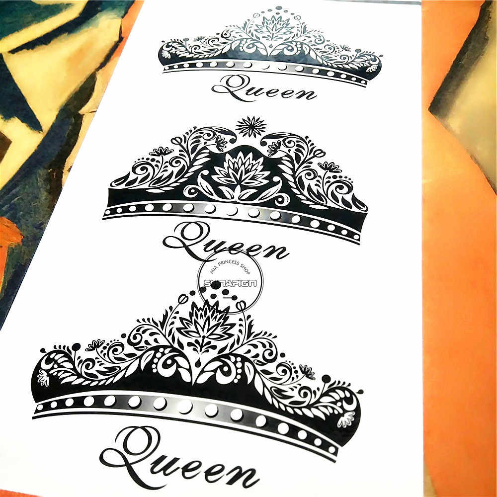 Shnapign imperial queen crown temporary tattoo body art arm flash tattoo stickers 1710cm waterproof