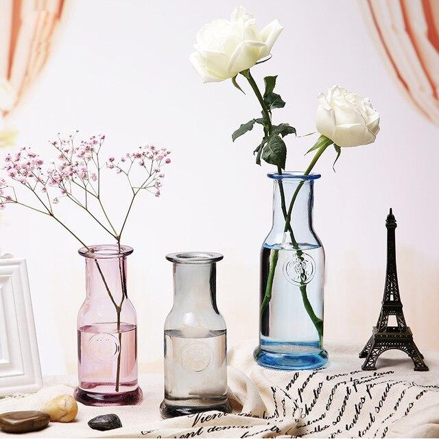 Europa florero de cristal colorido boca pequeña terrario envases de ...