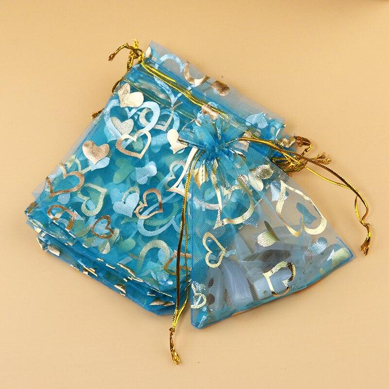 009868b1b 100 قطع بحيرة الأزرق اورجانزا حقائب 13x18 سنتيمتر الحلوى تصميم الرباط هدية  مجوهرات كيس التغليف القلب حقيبة الأورجانزا الحقائب