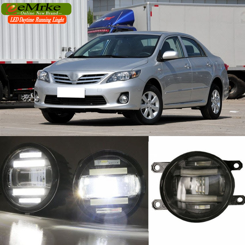 eeMrke Xenon White High Power 2in1 LED DRL Projector Fog Lamp With Lens For Toyota Corolla 2006-2016