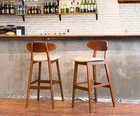 Quality Simple Solid Wood High Bar Stools Creative Retro Tall Bar Stools