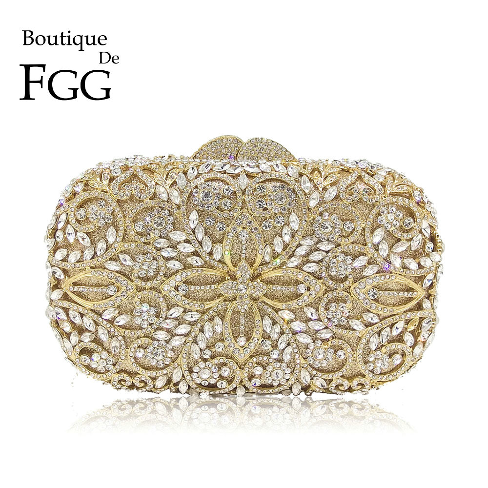 Boutique De FGG Hollow Out Women Gold Crystal Metal Clutches Minaudiere Handbag Diamond Evening Bags Bridal