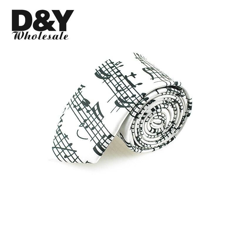 Black Sound Spectrum White Music Score Music Note White Necktie Polyester Woven Classic Men`s Party Wedding Tie New Design Ties