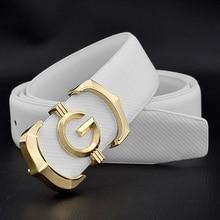 men luxury brand Cowskin casual white Waist Strap