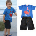 Children Suit Summer 2016 for boys Kids shorlt sleeve T-shirt + Denim shorts sets casual boy print set
