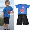 Children Suit Summer 2016 for boys Kids shorlt sleeve T-shirt + Denim shorts sets casual boy print set