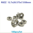 100pcs/lot R8ZZ R8 ZZ 2Z Metal shielded ball bearing 1/2