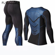High Elastic Mens T shirts Pants MMA Men Compression T-Shirts Long Sleeve Fitness Bodybuilding Clothes Rashguard Sport Suit
