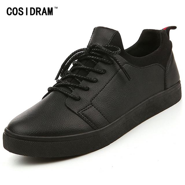 Nuevo 2016 Hombres Otoño Zapatos Casuales Diseñador Solid Cuero de LA PU de Los Hombres zapatos Con Cordones de Moda Hombres Zapatos Planos Para Hombre Calzado RMC-030