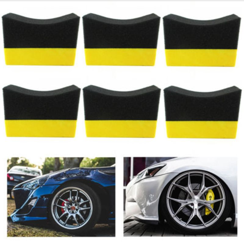 Image 5 - 6Pcs Tire Contour Dressing Applicator Pads Gloss Shine Color Polishing Sponge Wax-in Paint Cleaner from Automobiles & Motorcycles