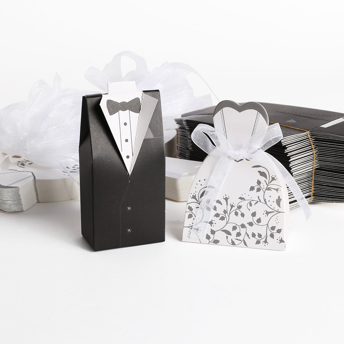 50 pairs dragee Box black groom + white bride for Wedding-in Gift ...