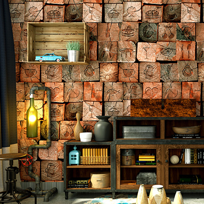 3D Wallpaper Personality Vintage Imitation Wood Texture PVC Vinyl Wall Paper Cafe Restaurant Living Room Backdrop Wall 3D Tapety