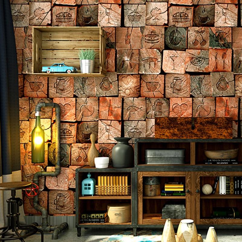 3D Wallpaper Personality Vintage Imitation Wood Texture