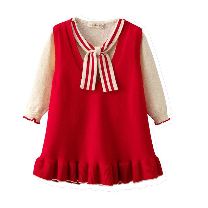 Automne et hiver nouvelle fille robes tout coton tricoté à manches longues T-shirt gilet robe