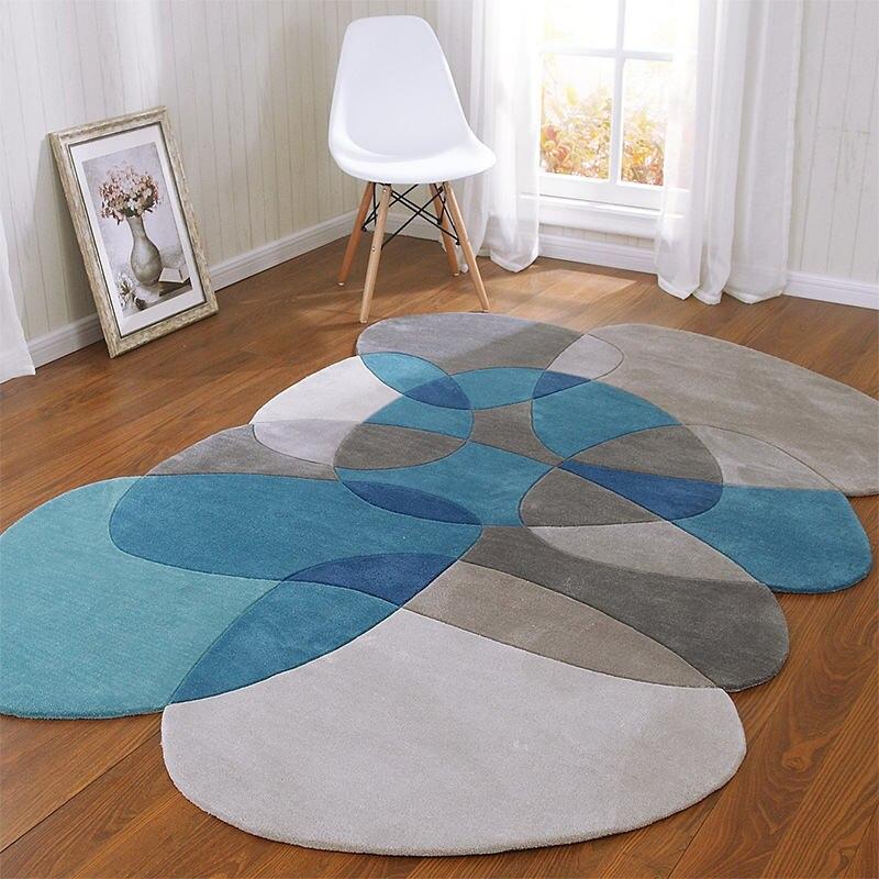 Высокое качество необычный журнальный столик для гостиной ковер геометрический акриловые ковры для гостиной коврики для спальни ручной работы - Цвет: 1