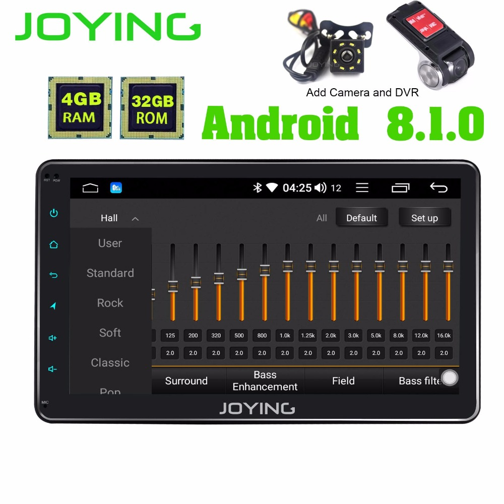 JOYING single din 10 1 inch car radio Android 8 1 Octa Core with DSP GPS
