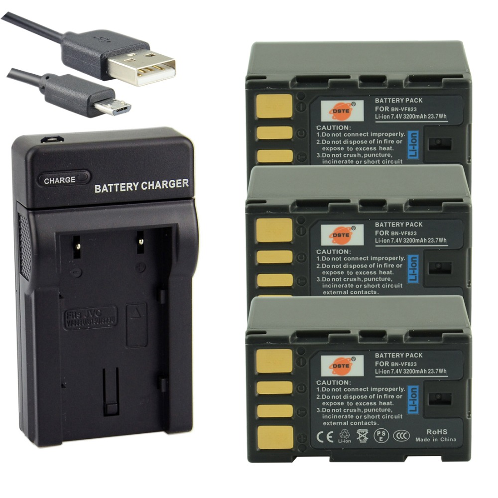 DSTE 3PCS BN-VF823 Li-ion Battery + UDC36 USB Port Charger for JVC GZ-HD3AC GZ-HD6AC GZ-MG330AC MG630AC GZ-MS120AC Camera 4450mah bn vg138 bn vg138 camera battery for jvc gz e10 e100 e245 e265 e565 e575 g3 gx1 gx3 g5 gx8 ex210 ex250ac ex275 ex355