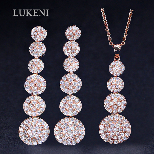 679b4f7521755e LUKENI Hot Sale Rose Gold Color Micro Pave Cubic Zirconia Stones Round Long  Drop Necklace Earrings
