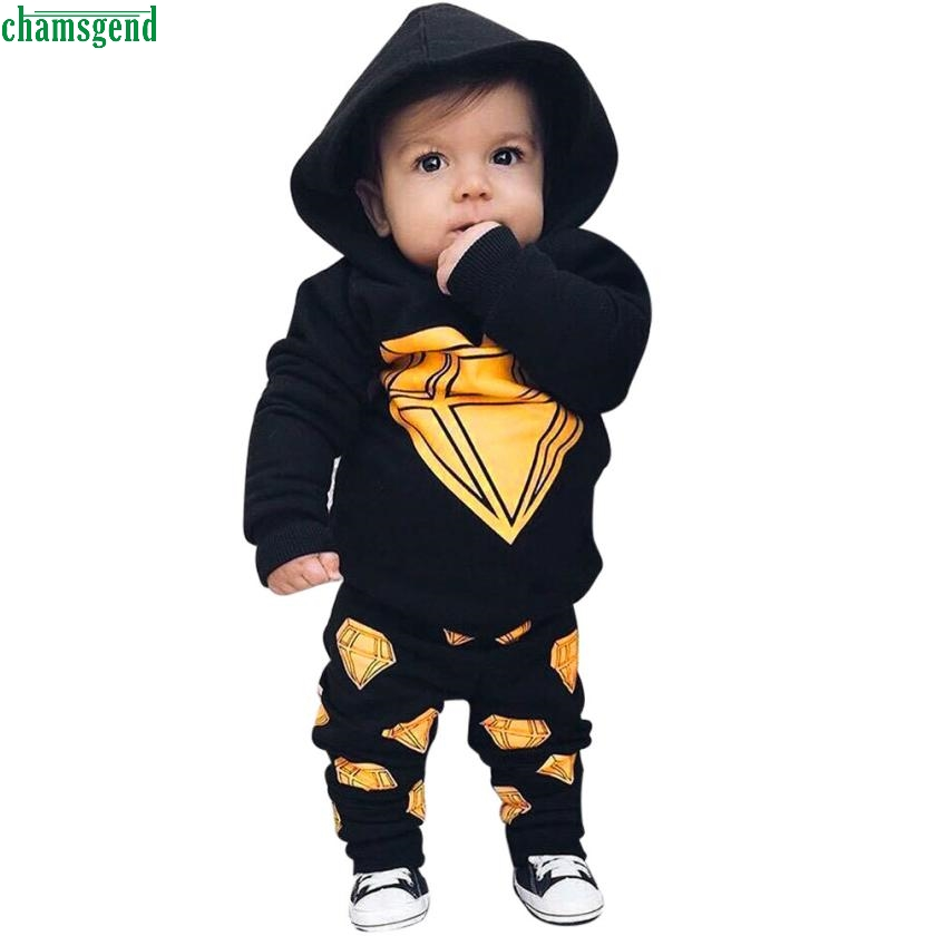 CHAMSGEND New dropship Newborn Baby Boys Toddler Hooded Tops +Long Pants Outfits Set Clothes H30 SEP26