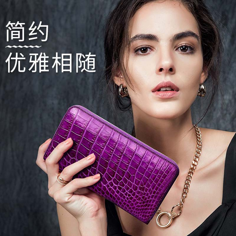 2018 hlt Thailand crocodile wallet woman leather goods long style handbag  new tide fashion belly wallet
