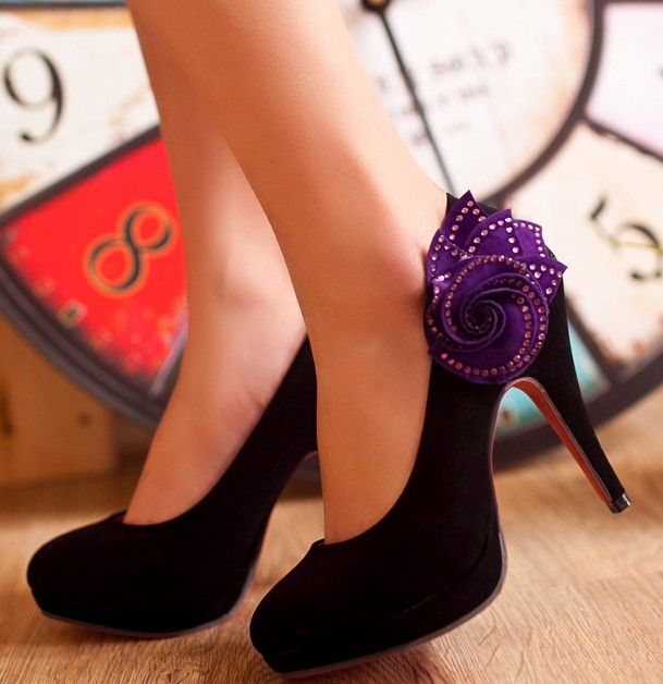 Black And Purple High Heels