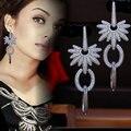 APM  Luxury micro pave setting AAA cubic zirconia heavy long drop earrings dress patry accessaries