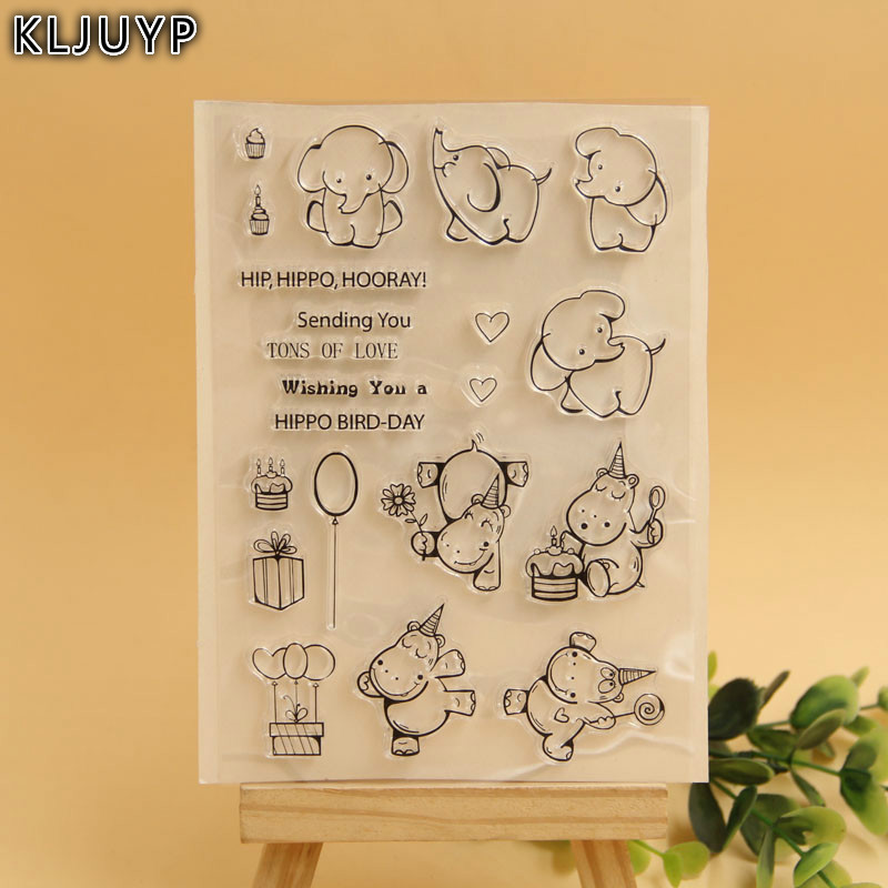 KLJUYP Cute Hippo Elephant Transparent Clear Silicone Stamp/Seal for DIY scrapbooking/photo album Decorative clear stamp sheets 2017 new fashion women geneva silicone rubber jelly gel quartz analog sports wrist watch 0vjs