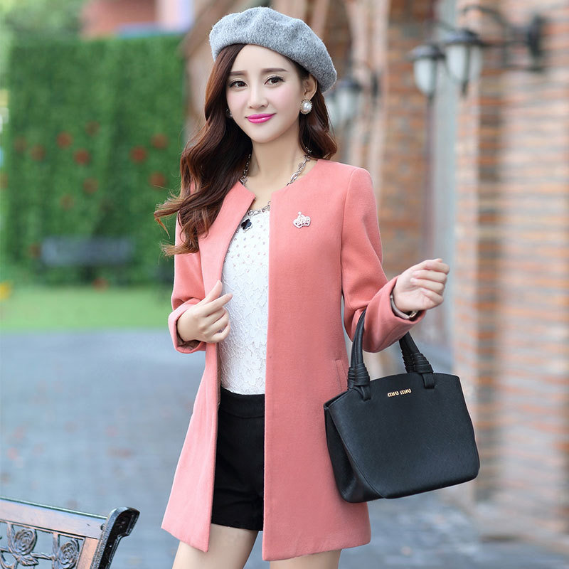 Pink Winter Coats Women Pink coat Early winter Woolen Cardigan ...