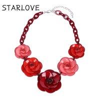 Necklaces Pendants Choker Kolye Hot Maxi Big Acrylic Black Flower Steampunk Colar Statement Necklace Pendant Jewelry