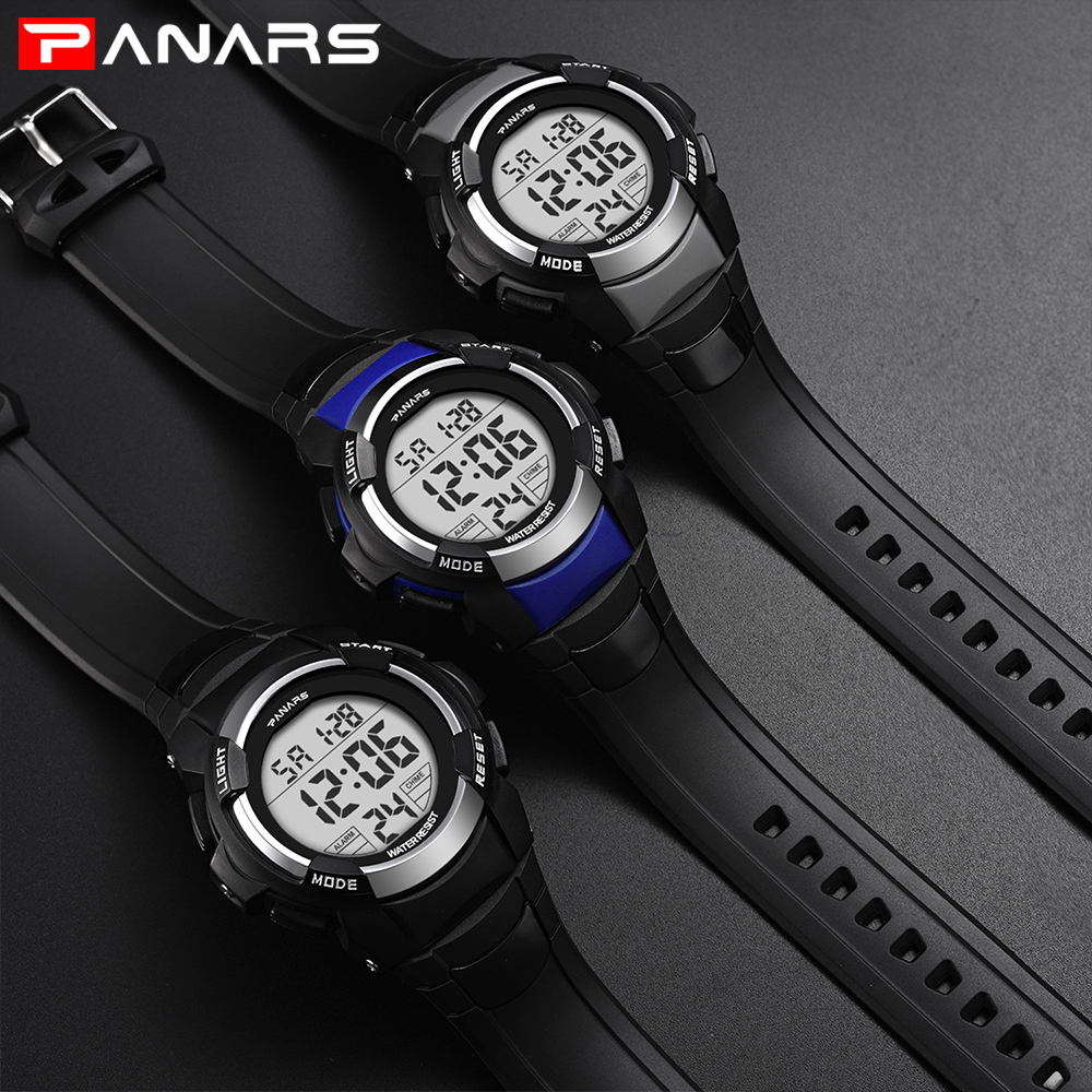 PANARS LED Digital Watch Men Luxury Brand Led Waterproof Outdoor Sport Watches For Men Clock Stopwatch Electronic Wrist Watches in Digital Watches from Watches