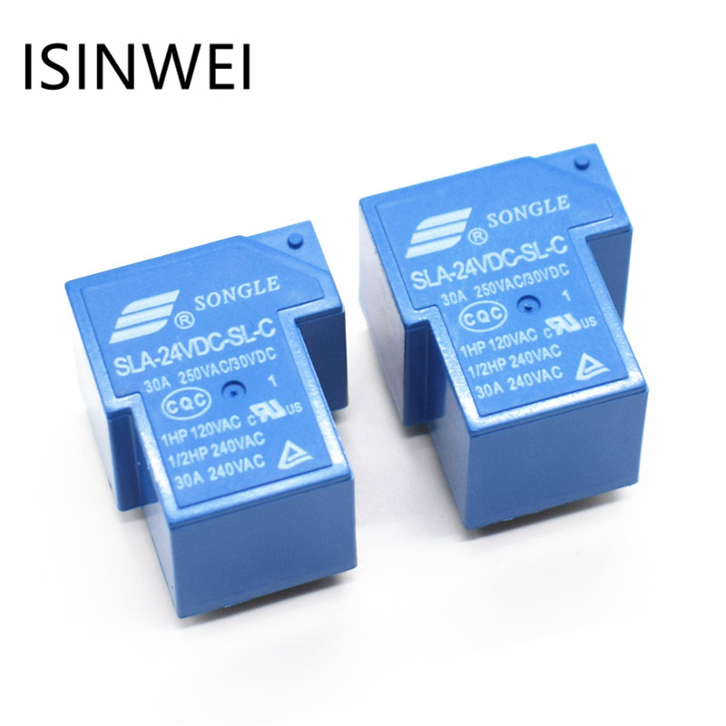 T90 Coil Relay 24VDC 30A 250VAC 30VDC 6 pin 1NO 1NC SLA-24VDC-SL-C PCB Type Power Relays relays srd 12vdc sl c pcb type 12v dc songle power relay