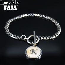 2019 Fashion Punk Letter K Stainless Steel Shell Chain Bracelet Women Silver Color Bracelets Jewelry pulseras mujer moda B18416