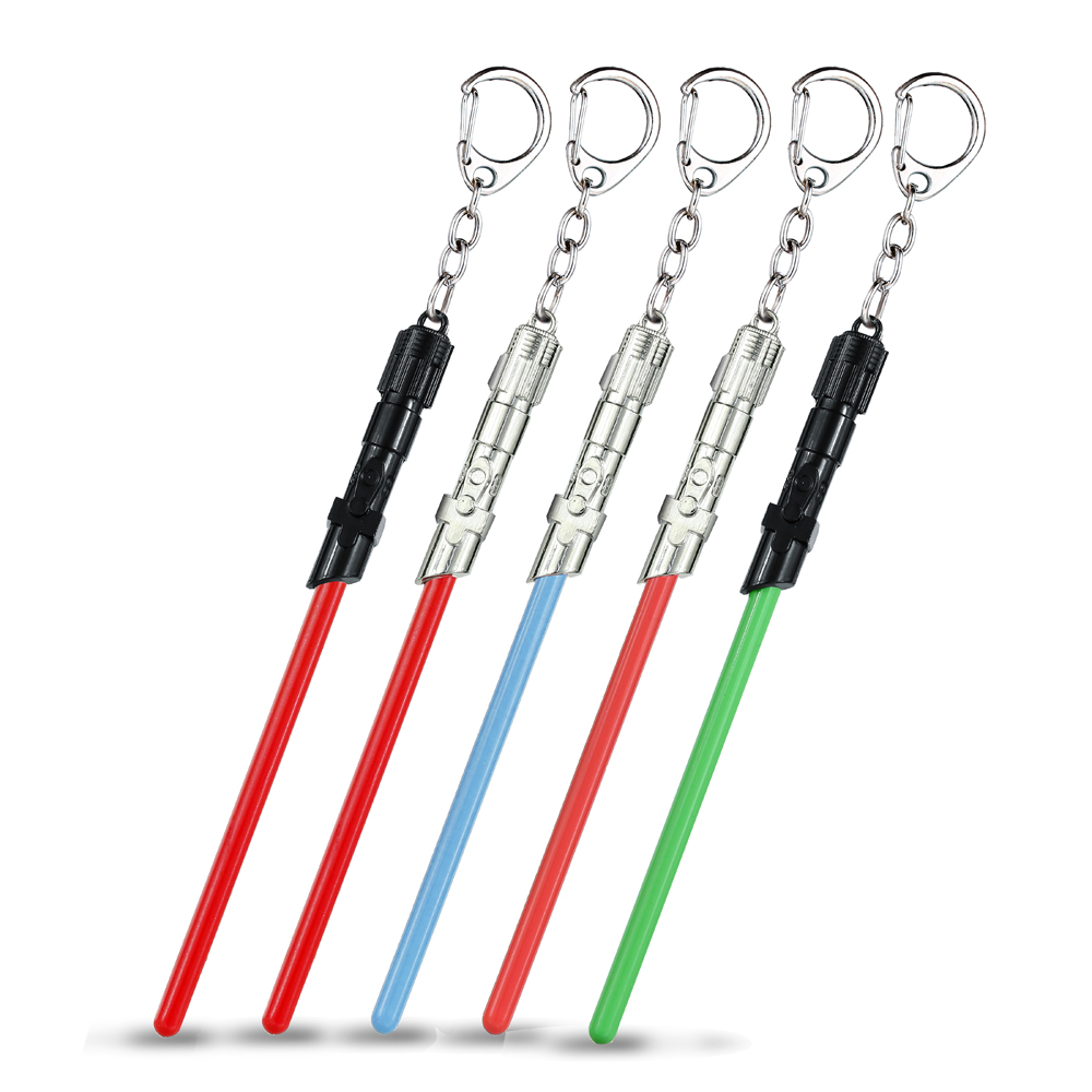 Star Wars lightsaber Keychain 5 colors Metal Key Rings Christmasgift for fans wholesale movie Jewelry for cars