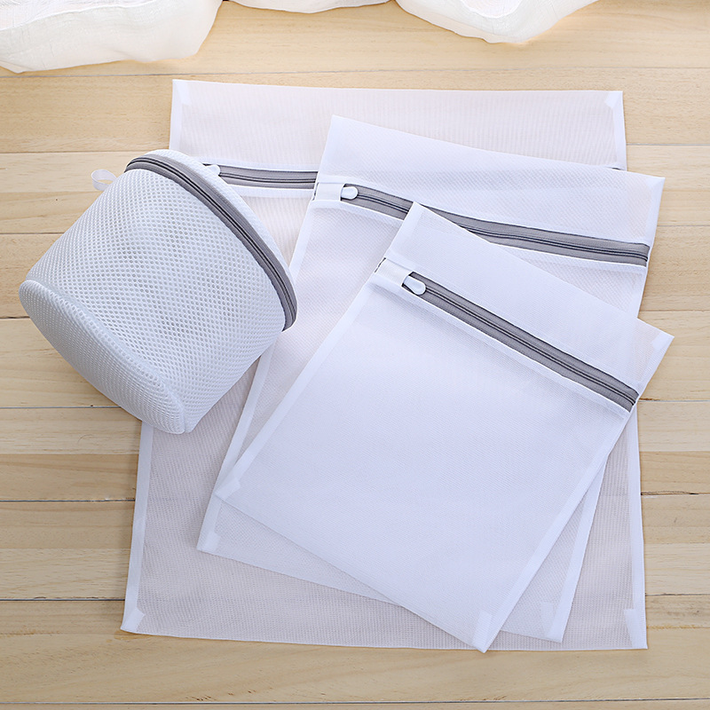 1PCS Grey Thickening Fine Mesh Laundry Bag Lingerie Bras Socks Travel Laundry Bags Washing Machine Cleaning Bathroom Accessories