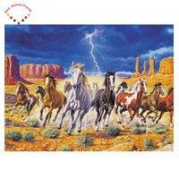 5D A Herd Of Horses Lightning Diamond Painting Cross Stitch Round Rhinestones Embroidery Plastic CraftsFull Diamond