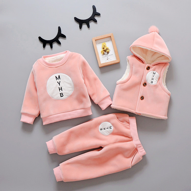Hot Baby Clothing 3 Pcs Set Fall Winter Boys & Girls Velvet Thickening Wadded Clothes Childrens Vest Jacket + Tops + Pants X290Hot Baby Clothing 3 Pcs Set Fall Winter Boys & Girls Velvet Thickening Wadded Clothes Childrens Vest Jacket + Tops + Pants X290