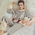 Las mujeres Espesan Lindo Conejo Conejo de Dibujos Animados de Franela Pijama Barato Pijamas Pijama De Bichos Entero Pyama para Mujer ropa de Dormir de Mujer