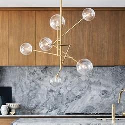 Europa creativo moderno estilo conciso colgante de vidrio burbujas de vidrio estudio salón restaurante Cafe decoración lámpara