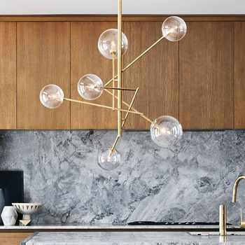 Europe moderne créatif Style concis verre pendentif lumière verre bulles étude salon Restaurant café décoration lampe